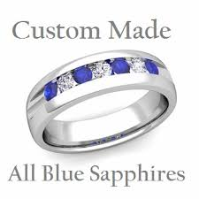 mens wedding ring sizes set blue sapphire mens wedding band in 14k white gold 6mm ring