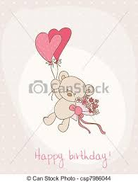 eps vector of greeting birthday card with cute bear csp7986044
