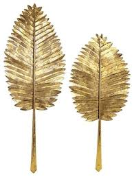 Gold Wall Decor by Gold Leaf Leaves Wall Decor Set Of 2 Tropical Wall With