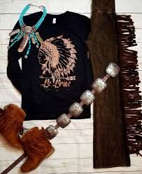 cowgirl gypsy indian warrior headdress be brave black tee ls shirt