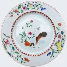 assiette de porcelaine famille rose porcelaine chine qianlong feuille tabac