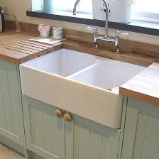 Fireclay Ceramic White Double Bowl Belfast Kitchen Sink  Waste - Belfast kitchen sink