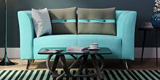 Best Price Two Seater Sofa Grab Adelia Two Seater Sofa In Celeste Blue Colour With Throw