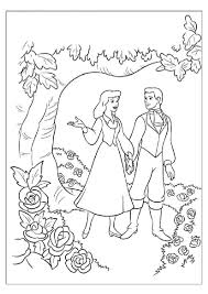 cinderella and prince charming in the garden free coloring pages