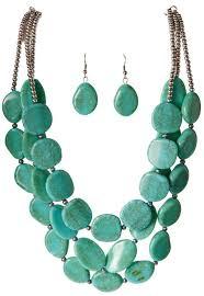 turquoise blue stone necklace images Flat turquoise stone necklace set wholesale ns5165tq jpg