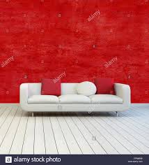 white sofa with red and white pillows on an empty room with red