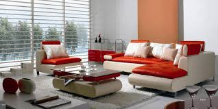 b 205 modern contemporary white and red sectional sofa set