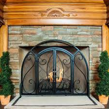 Arched Fireplace Doors by Vintage Fireplace Screens With Doors For Family Room Ward Log Homes