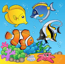 underwater animals and fishes 2 illustration royalty free