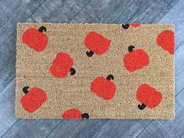 pumpkin doormat welcome mat custom painted doormat