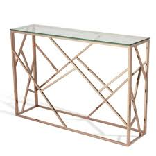 rose gold console table betty glass console table in clear with rose gold base gold and