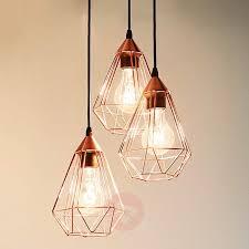 3 bulb light fixture inspiring glossy copper hanging light tarbes 3 bulb lights co uk