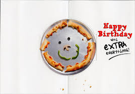 dog with birthday pizza stand out pop up funny birthday card by