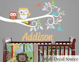 Monogram Wall Decals For Nursery Nursery Wall Decal With Owls Monogram Wall By Walldecalsource