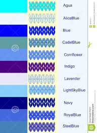 Blue Color Palette by Set Knitted Stripes In Blue Color Palette With Color Name Stock