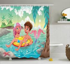 Curtain Cartoon by Kids Shower Curtain Cartoon Tropical Love Bathroom Decor Ebay