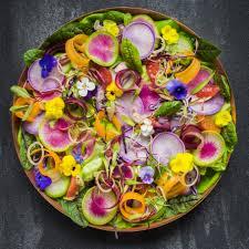 edible flower garnish rainbow radish and edible flower salad with blood orange