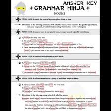 parts of speech with nouns grammar ninja by created for learning