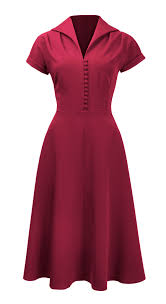 1940s dresses 40s hostess flared wing collar dress by pretty retro 1940s