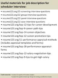 Job Descriptions For Resumes by Top 8 Job Description For Scheduler Resume Samples