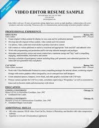 video editor resume sample job interview u0026 career guide