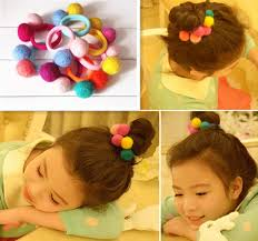 baby hair ties 2 pcs set candy color wool felt fabric balls kids hair ties