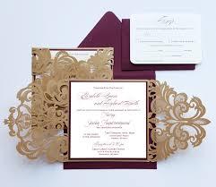 wedding invitations gold custom burgundy gold lasercut wedding invitation card