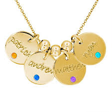 Birthstone Name Necklace 4 Discs Name Necklace With Birthstone