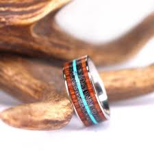 wood mens wedding bands antler turquoise and koa wood titanium mens wedding band 9mm wood