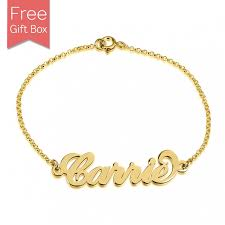 gold plated name necklace gold plated carrie style name bracelet rs name necklace
