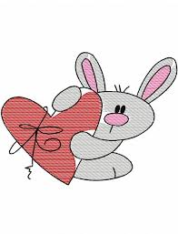 bunny with heart 155 sketch embroidery design rabbit sketch