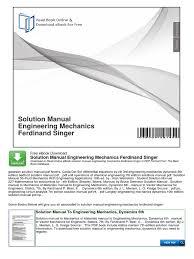 solution manual engineering mechanics ferdinand singer taxes