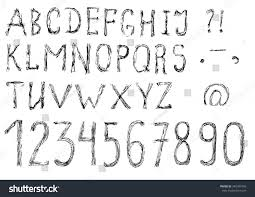 hand drawn alphabet scary halloween gothic stock vector 340504706