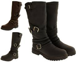 womens wide motorcycle boots womens keddo boots real wool lined warm faux leather biker boot