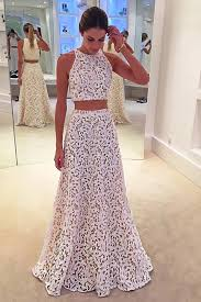 lace prom dress two pieces prom dress cute white lace long