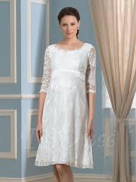 maternity wedding dress knee length scoop neck half sleeves lace maternity wedding dress
