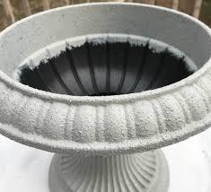 creating a concrete urn with faux concrete paint