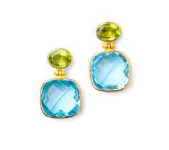 peridot earrings blue topaz earrings with peridot on prunella