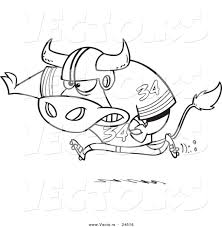 vector of a cartoon football bull running outlined coloring page