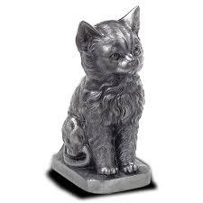 cat urn sitting cat urn pewter