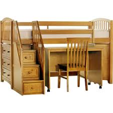 junior loft bed with mobile desk and stairs basics pecan