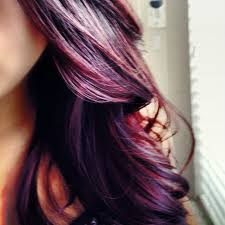 deep purple color indigo and purple with brown base and deep purple tips hairstyle