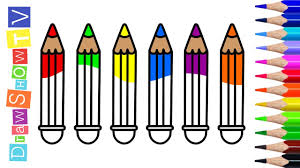 how to draw color pencils coloring pages kids learn drawing