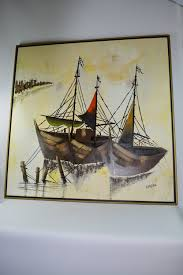 boats docked linear painting mcm large oil on canvas mid