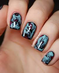 dressed up nails turquoise and black brush marble easy nail art