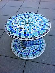 mosaic garden table made from wooden cable spool i want to