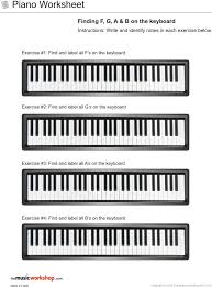 piano worksheet finding f g a and b on the piano the music workshop