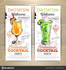 valentine cocktail party poster invitation design u2014 stock vector