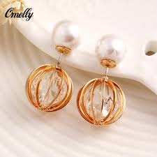 sided earrings 2017 sided earrings for women gold silver plated hollow out