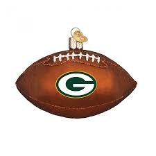 green bay packers blown glass football ornament at the packers pro